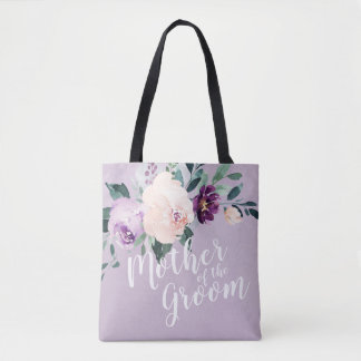 Personalized purple floral mother of the groom tote bag