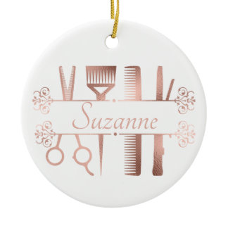 Personalized Rose Gold hair Stylist Hairdresser Ceramic Ornament
