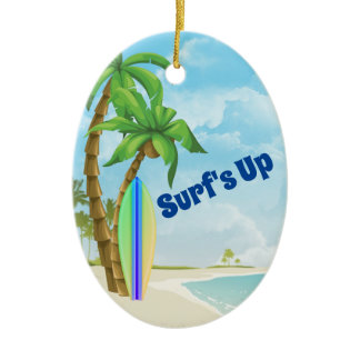 Personalized Surfboard Beach Surfing Christmas Ceramic Ornament