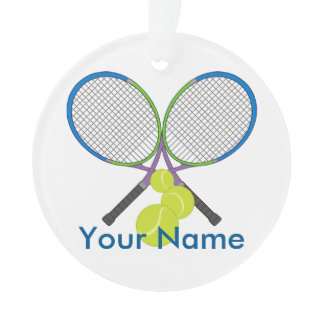 Personalized Tennis Crossed Rackets Ornament