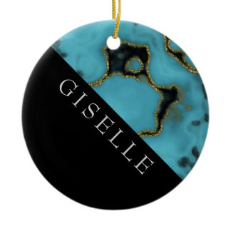 Personalized Turquoise Stone Gold and Black Ceramic Ornament