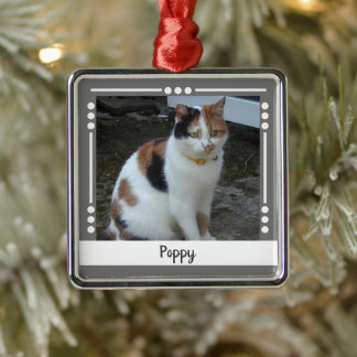 Pet Cat name Photo Holiday grey white Metal Ornament