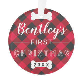 Pet's First Christmas   Red Buffalo Plaid Photo Ornament