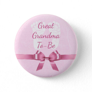 Pink Bow Great Grandma  to be Baby Shower Button