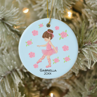 Pink  Brown Haired Ballerina Christmas Ceramic Ornament