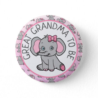 Pink Elephant Great Grandma  Be Baby Shower Button