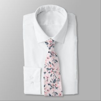 Pink & Gray Floral Watercolor Pattern Neck Tie