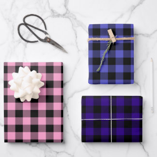 Pink Periwinkle & Purple Buffalo Plaid Wrapping Paper Sheets