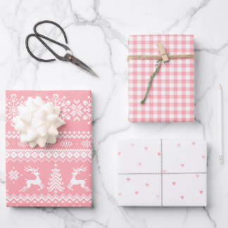 Pink ugly Christmas sweater buffalo plaid hearts Wrapping Paper Sheets