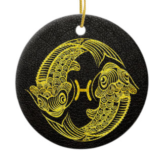 Pisces Gold on Leather Ceramic Ornament