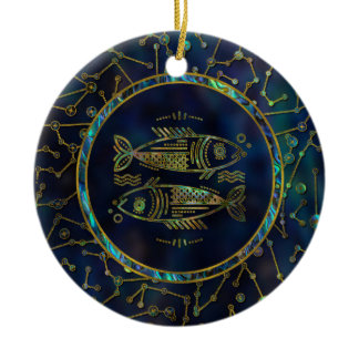 Pisces Zodiac Gold Abalone on Constellation Ceramic Ornament
