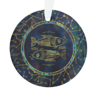 Pisces Zodiac Gold Abalone on Constellation Ornament