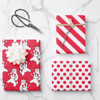Polar Bear Candy Cane Wrapping Paper Set of 3