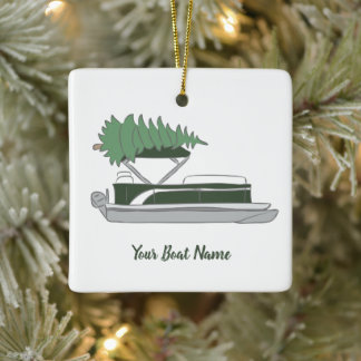 Pontoon Boat with Christmas Tree on Top Holiday Ceramic Ornament