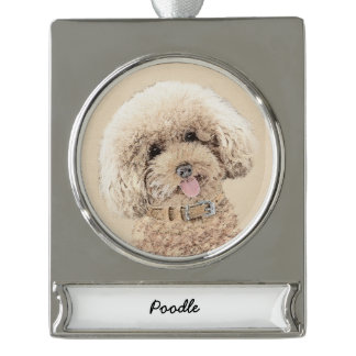 Poodle (Toy, Miniature) Painting Original Dog Art Silver Plated Banner Ornament