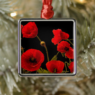 Poppy Flowers Red Black Watercolor Floral Decor Metal Ornament