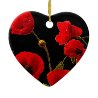 Poppy Flowers Red Black Watercolor Floral Heart Ceramic Ornament