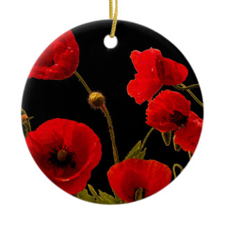 Poppy Flowers Red Black Watercolor Floral Poppies Ceramic Ornament