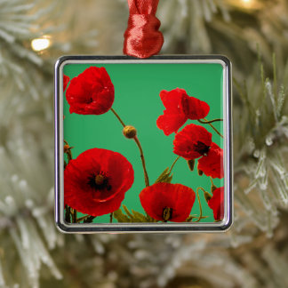 Poppy Flowers Red Watercolor Floral Sea Green Metal Ornament
