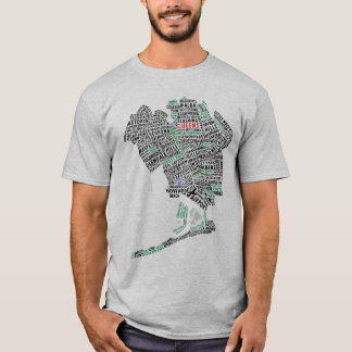 Queens New York Typography Map T-Shirt
