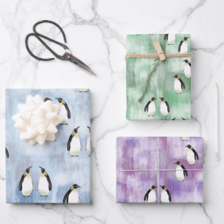 Realistic Emperor Penguins Blue Green Purple Ice Wrapping Paper Sheets