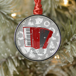 Red Accordion sparkling Christmas Ornament