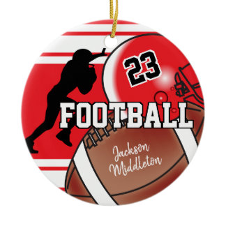 Red and Black Personalize Football Ceramic Ornament