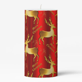 Red and Gold Festive Reindeer Christmas Pillar Candle