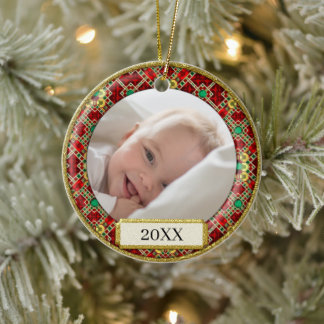 Red and Gold Ornamental Baby's First Christmas - Ceramic Ornament