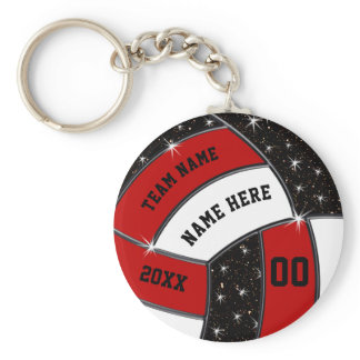 Red Black and White Volleyball Gifts, Volleyball Keychain