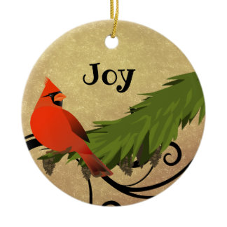 Red Cardinal Bird Personalized Christmas Ornament
