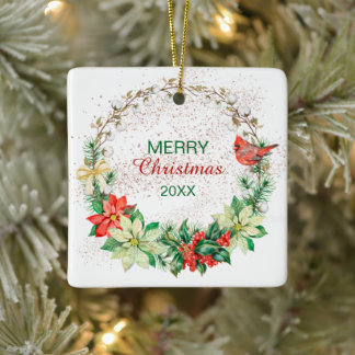 Red Cardinal Holiday Wreath Ceramic Ornament