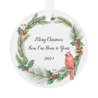 Red Cardinal on a Christmas Wreath - watercolors O Ornament