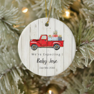 Red Christmas Truck We're Expecting Parents Ceramic Ornament