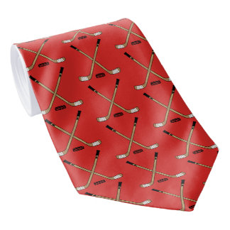 Red Crossed Hockey Sticks and Puck Neck Tie