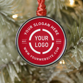 Red custom business ornaments with logo