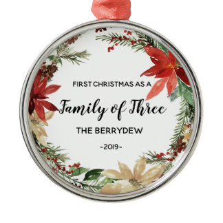 Red First Christmas as a Family of Three ornament
