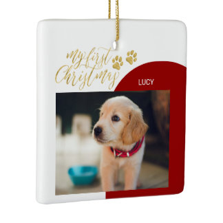 Red & Gold Pet Puppy First Christmas Photo Ceramic Ornament
