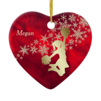 Red Gold Snowflake Cheerleader Personalized Ceramic Ornament