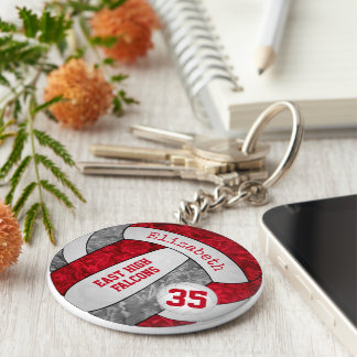red gray volleyball keychain w school mascot name