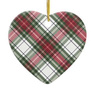 Red & Green Watercolor Christmas Plaid Ornament