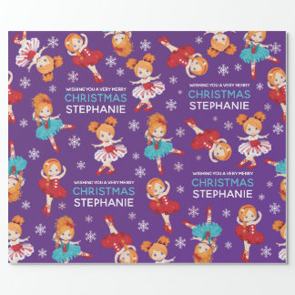 Red Hair Christmas Ballerina Wrapping Paper