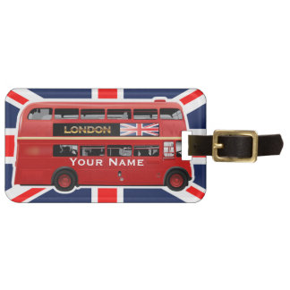 Red London Double Decker Bus Luggage Tag