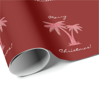 Red Palm Tree | Merry Christmas Wrapping Paper