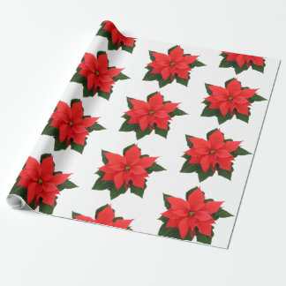 Red Poinsettia Wrapping Paper