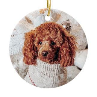 Red Poodle in a sweater under a Christmas Tree Ceramic Ornament