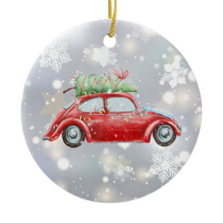 Red Retro Beetle with Christmas Tree, Lights, Ceramic Ornament