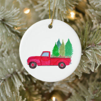 Red retro Pickup Truck with trees Ceramic Ornament