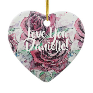 Red Rose Floral Love You Womans Name Decoration