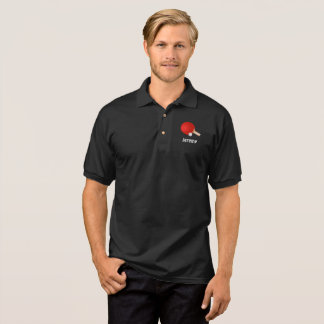 Red Table Tennis Paddle and Ball, Template Polo Shirt